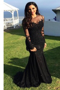 Comfortable Mermaid Scoop Black Long Sleeves Beading and Lace Zipper Prom Gown
