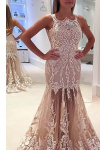 Shining Mermaid Scoop Sleeveless Sweep Train Lace and Appliques Zipper Prom Evening Gown