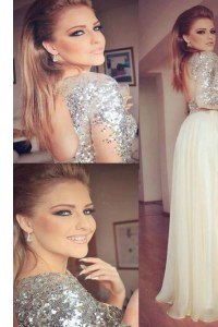Sequins Column/Sheath Champagne Scoop Organza and Sequined Long Sleeves Floor Length Backless