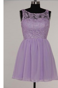 Lavender Prom and For with Lace Scoop Sleeveless Zipper