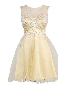 Amazing Scoop Knee Length Zipper Prom Dress Yellow for Prom and Party with Sequins