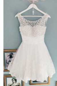 Discount Scoop Sleeveless Zipper Prom Evening Gown White Lace