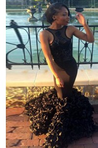 Decent Black Mermaid Scoop Sleeveless Satin Floor Length Backless Lace Evening Dress