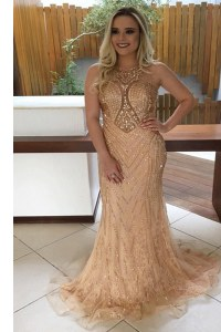 Clearance Mermaid Lace Champagne Homecoming Dress Prom and For with Beading Scoop Sleeveless Sweep Train Backless