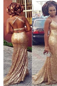 Super Gold Halter Top Criss Cross Sequins Womens Evening Dresses Brush Train Sleeveless