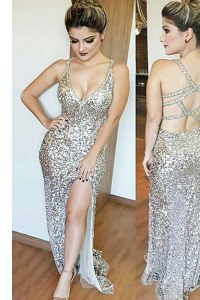 Popular Mermaid Silver Backless V-neck Sequins Prom Evening Gown Sequined Sleeveless