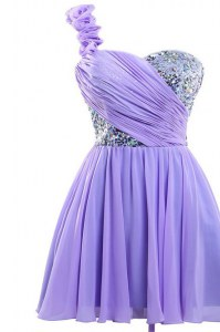 Lavender One Shoulder Lace Up Sequins Evening Dress Sleeveless