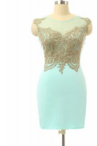 Mini Length Side Zipper Prom Dresses Turquoise and In with Lace