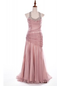 Halter Top Pink Column/Sheath Beading Prom Evening Gown Side Zipper Organza and Taffeta Sleeveless With Train