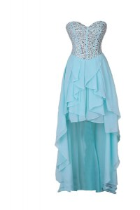 High Low Blue Prom Dress Chiffon Sleeveless Beading