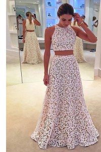 Adorable Scoop Lace Sleeveless Floor Length and Lace