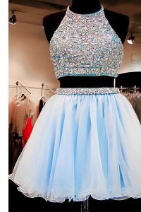 Halter Top Sleeveless Prom Gown Mini Length Beading Light Blue Chiffon