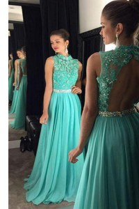 Cheap Scoop Turquoise Chiffon Backless Prom Gown Sleeveless Floor Length Beading and Lace