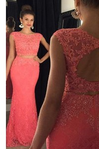 Fantastic Mermaid Lace Watermelon Red Bateau Neckline Beading and Appliques Sleeveless Backless