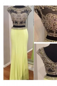 Fancy Scoop Sleeveless Beading Zipper Prom Gown