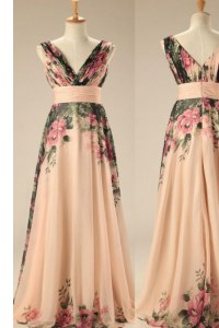 Charming Embroidery and Belt Champagne Zipper Sleeveless Sweep Train