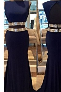 Mermaid Navy Blue Bateau Neckline Sequins Oscars Dresses Sleeveless Backless
