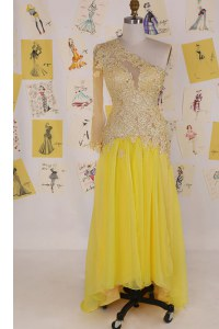 One Shoulder Appliques Prom Gown Yellow Side Zipper Sleeveless High Low