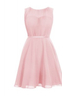 Baby Pink Zipper Scoop Ruching Evening Dress Chiffon Sleeveless