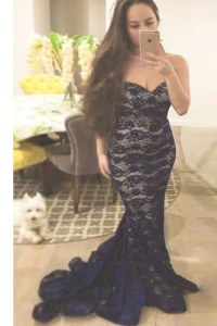 Mermaid Navy Blue Lace Zipper Evening Dress Sleeveless With Train Sweep Train Lace