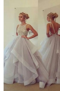 Fabulous With Train Champagne Dress for Prom Scoop Sleeveless Sweep Train Backless
