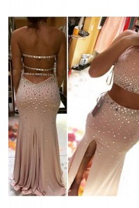 Clearance Scoop Sleeveless Beading Backless Evening Dresses with Pink Brush Train