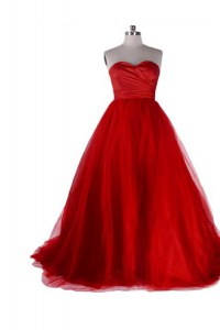 Red Sleeveless Sweep Train Ruching With Train Homecoming Dress
