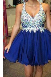 Beauteous Sleeveless Knee Length Beading Backless Prom Evening Gown with Royal Blue