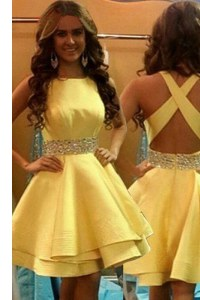 A-line Cocktail Dresses Yellow Scoop Satin Sleeveless Knee Length Criss Cross