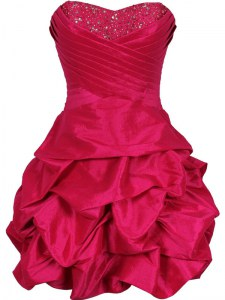 Attractive Hot Pink Ball Gowns Ruching Club Wear Lace Up Taffeta Sleeveless Mini Length