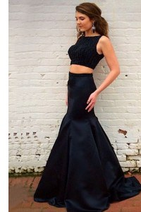 Black Mermaid Beading Prom Gown Backless Elastic Woven Satin Sleeveless