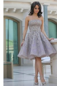 Suitable Strapless Sleeveless Backless Homecoming Dress Grey Organza