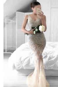 Champagne Mermaid Beading and Lace Zipper Tulle Sleeveless