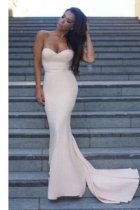 Mermaid Sleeveless White Prom Party Dress Sweep Train Backless