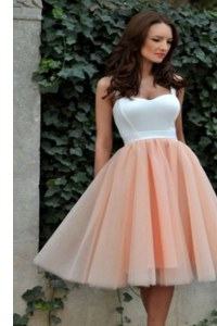 Sexy Peach Prom Evening Gown Prom and Party and For with Ruching Square Sleeveless Zipper