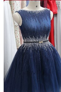 Smart Navy Blue A-line Tulle Scoop Sleeveless Beading Knee Length Zipper Prom Gown