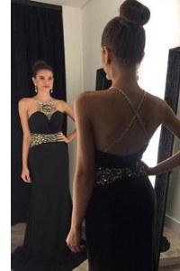 Modern Mermaid Halter Top Black Satin Criss Cross Prom Gown Sleeveless With Brush Train Beading