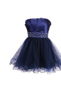 Chic Knee Length Navy Blue Dress Like A Star Satin and Tulle Sleeveless Beading and Sashes ribbons