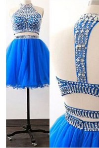 Trendy Royal Blue Tulle Zipper High-neck Sleeveless Mini Length Prom Dresses Sashes ribbons