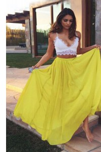 Inexpensive Yellow Sleeveless Chiffon Zipper Prom Dress for Prom and Party