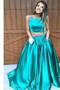Spectacular Zipper Dress for Prom Green for Prom and Party with Ruching Sweep Train