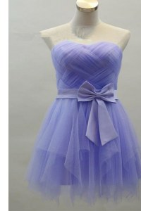 Sweetheart Sleeveless Zipper Prom Evening Gown Lavender Satin