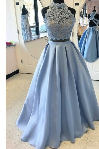 Sexy Criss Cross Light Blue for Prom with Lace