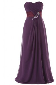 Chiffon Sweetheart Sleeveless Zipper Ruffles Prom Evening Gown in Purple