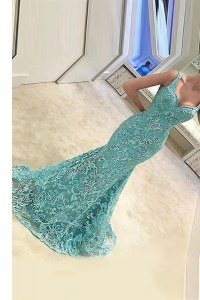 Nice Turquoise Mermaid Straps Sleeveless Tulle With Train Sweep Train Zipper Appliques Homecoming Dress