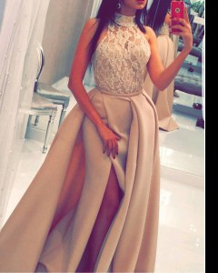 Mermaid Sleeveless Champagne Prom Dresses Sweep Train Zipper