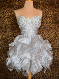 Grey Club Wear Prom and Party and For with Beading and Ruffles Sweetheart Sleeveless Lace Up