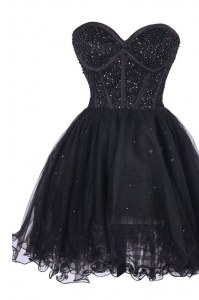 Sequins Knee Length A-line Sleeveless Black Red Carpet Gowns Criss Cross