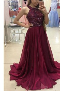 Halter Top Chiffon Sleeveless Prom Evening Gown Sweep Train and Beading