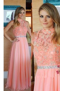 Pink Sleeveless Floor Length Beading and Lace Zipper Evening Dress